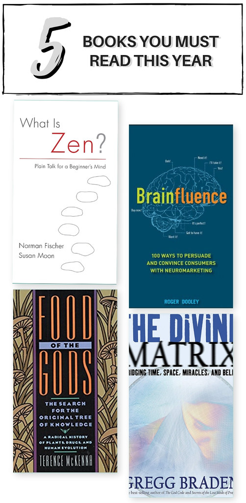 Books to Read this Year - HOW TO CHANGE YOUR MIND BY MICHAEL POLLAN, WHAT IS ZEN BY NORMAN FISCHER AND SUSAN MOON, BRAINFLUENCE BY ROGER DOOLEY,FOOD OF THE GODS BY TERENCE MCKENNA, THE DIVINE MATRIX BY GREGG BRADEN