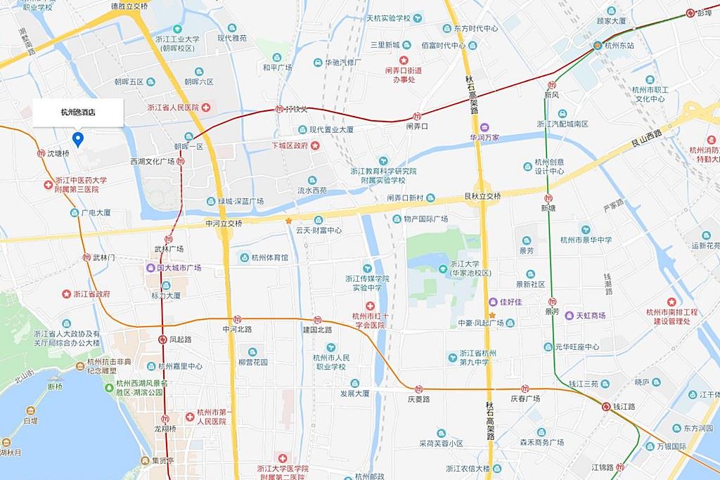 The East Hotel Hangzhou Map