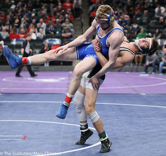 132AA 3rd Place Match - Cade Lundeen (Thief River Falls) 49-2 won by decision over Leighton Rach (Perham) 39-11 (Dec 5-1). 190302BMC3712