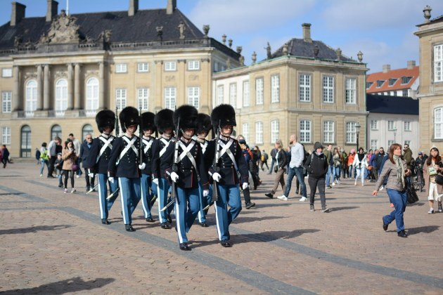 The changing of the guards at Amalienborg
