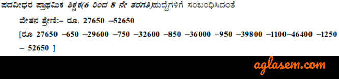 Pay Scale of KARTET Recruitment 2019