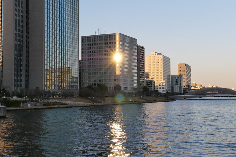 sunshine reflection on the edge of building