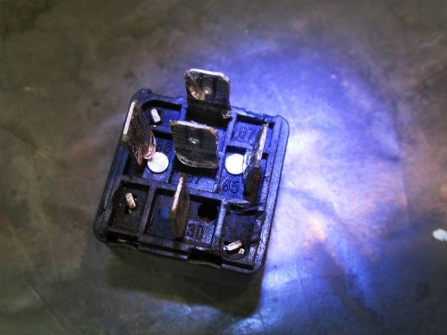 Bottom of Starter Relay Shows Terminal Numbers