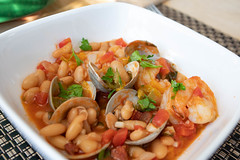 Clams, Shrimp, Beans, and Chorizo