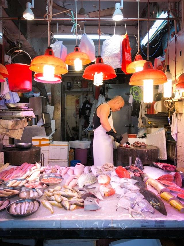Hong Kong Wan Chai Wet Market Fish Seller