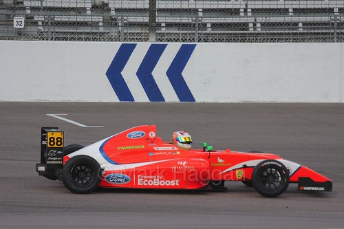 Jack Martin's British F4 car comes to a stop at Rockingham, August 2016