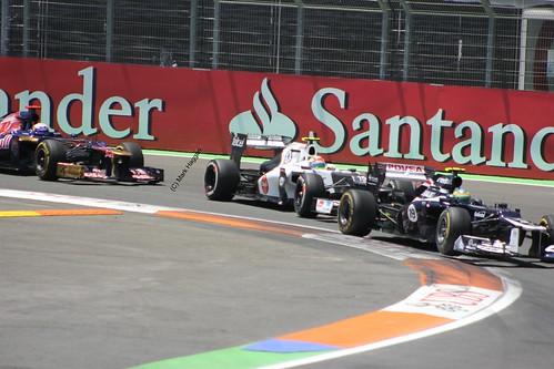 Bruno Senna, Sergio Perez & Daniel Ricciardo during the 2012 European Grand Prix in Valencia