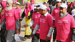 Men marched in Rajshahi, Bangladesh in a compa...