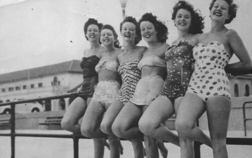 Old Sydney March 19, 1950. Bathing costumes ha...