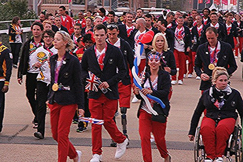 Team GB athletes arrive for the London 2012 Paralympic Closing Ceremony