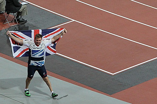Dan Greaves of Team GB celebrates his silver in the F44 discus at the London 2012 Paralympics