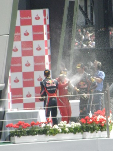 The podium celebrations after the 2011 British Grand Prix