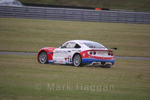 Enzo Fittipaldi on the grass during Ginetta Junior Racing during the BTCC 2016 Weekend at Snetterton