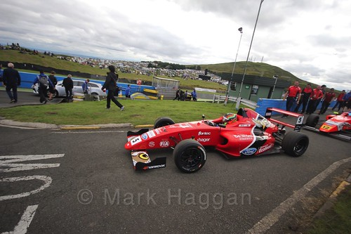 Frank Bird ahead of the final British Formula Four race during the BTCC Knockhill Weekend 2016