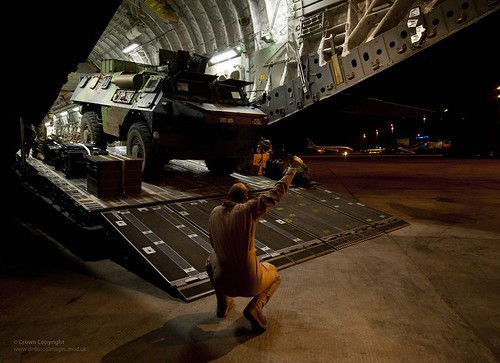 French VAB Vehicle Being Unloaded from RAF C17...