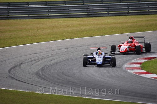 Petru Florescu and Rafael Martins in British Formula 4 during the BTCC 2016 Weekend at Snetterton