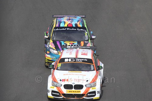Jack Goff leads Mat Jackson during the BTCC Brands Hatch Finale Weekend October 2016