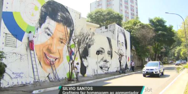 Silvio Santos ganha homenagem em mural gigante de 8 metros de altura, em SP