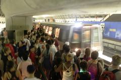 crowded metro platform
