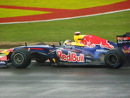 Sebastian Vettel in his Red Bull Racing F1 car at the 2011 British Grand Prix at Silverstone