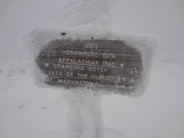Crawford Path Sign on Mt. Pierce