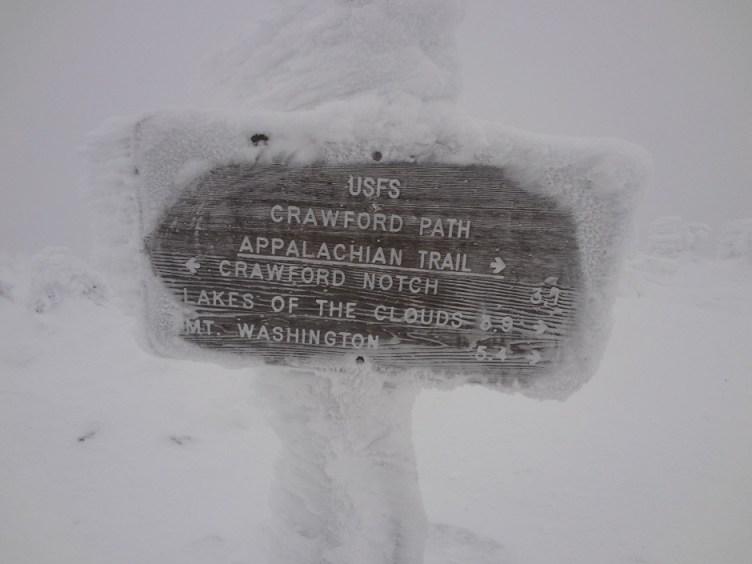 Crawford Path Sign on Mt. Pierce