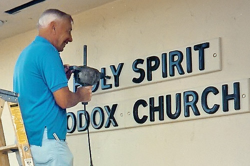 """Parishioners Working on Signage • <a style=""""font-size:0.8em;"""" href=""""http://www.flickr.com/photos/72479515@N06/8544730990/"""" target=""""_blank"""">View on Flickr</a>"""
