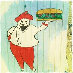 Big boy with a big sandwich Bronx style.