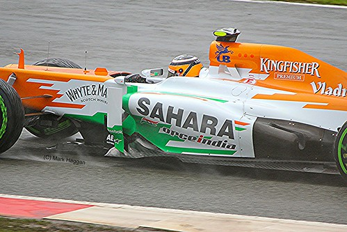 Nico Hulkenberg in his Force India F1 car at Silverstone