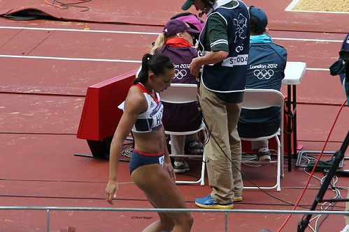 Louise Hazel of Team GB & NI in the long jump during the heptathlon at the London 2012 Olympics