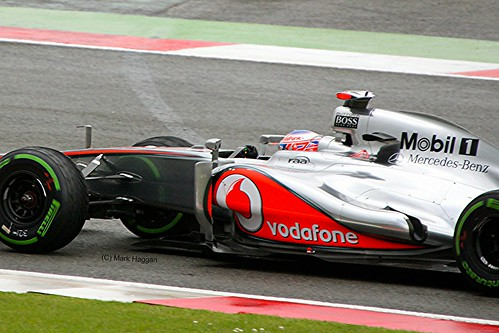 Jenson Button in his McLaren F1 car at Silverstone