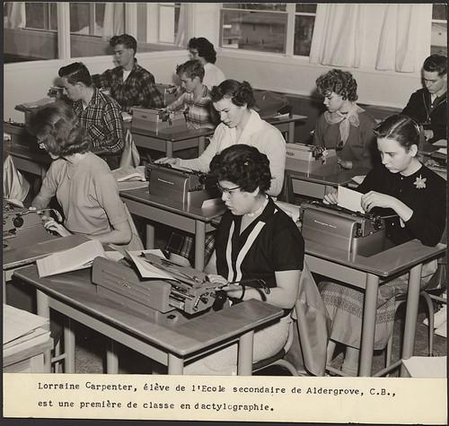 Lorraine Carpenter in typing class at Aldergro...