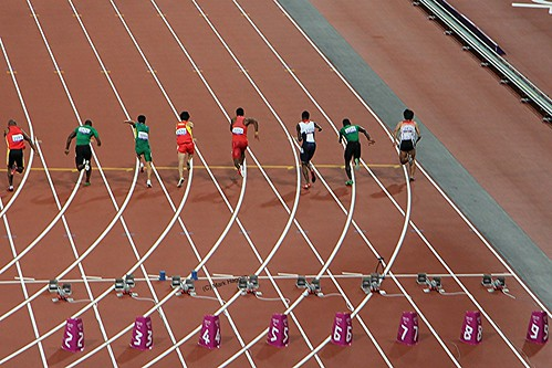 The start of the men's 100m T46 final at the London 2012 Paralympic Games