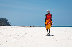 Aborigine Walking at White Beach