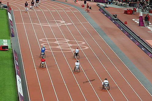 Preparing for the final of the T54 800m at the London 2012 Paralympic Games