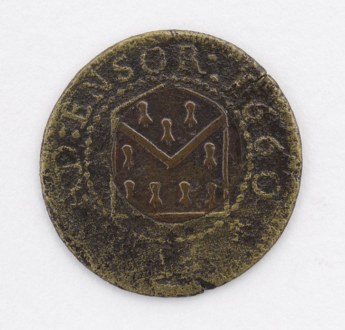 Halfpenny tokens of Edward Ensor, Grocers' Arm...