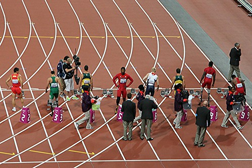 Preparing for the men's T44 100m final at the London 2012 Paralympics