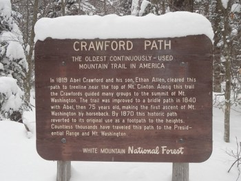 Historic Crawford Path Sign on Mt. Pierce
