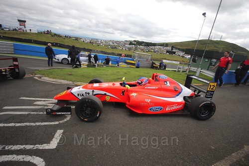 Ayrton Simmons ahead of the final British Formula Four race during the BTCC Knockhill Weekend 2016