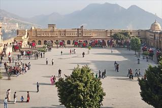 La cour principale du fort d'Amber (Rajasthan)