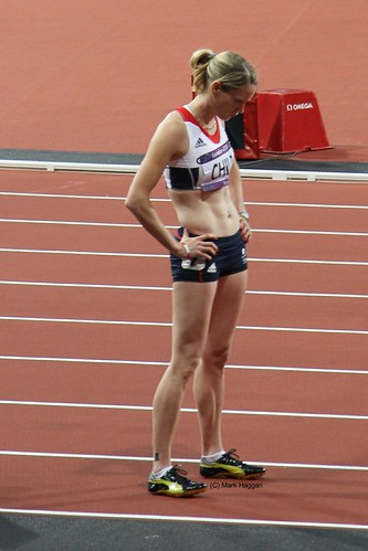 Eilidh Child of Team GB gets ready for the 400m hurdles at the London 2012 Olympics