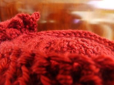 Autumn Red Asymmetrical Crochet Cloche Hat