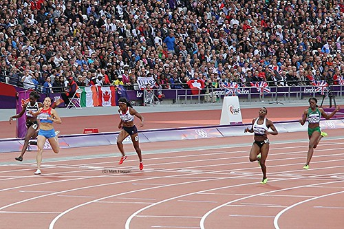 Margaret Adeyone of Team GB crosses the finish line in the heats for the 200m at London 2012