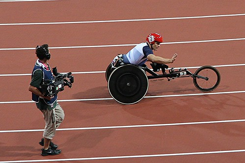 David Weir on his victory lap after winning the T54 800m at the London 2012 Paralympics