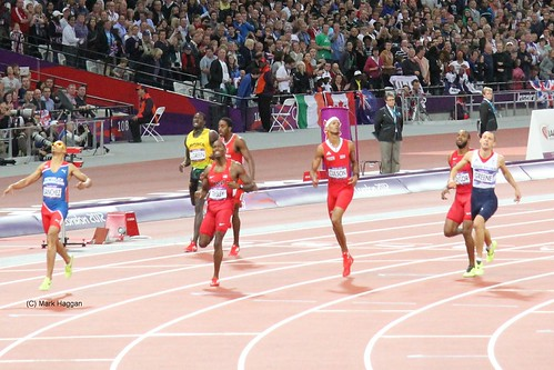 Felix Sanchez of Dominican Republic crosses the line to win the 400m hurdles at the London 2012 Olympics