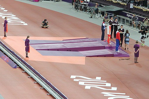 The medal ceremony for the men's T46 100m at the London 2012 Paralympic Games