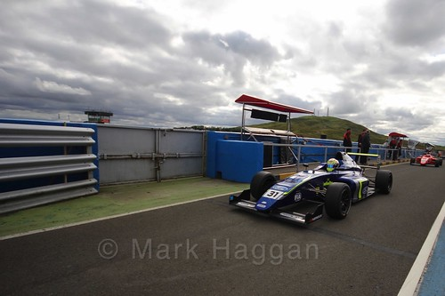 Max Fewtrell after the final British Formula Four race during the BTCC Knockhill Weekend 2016