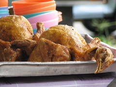 Cooked chickens at Kuching weekend market