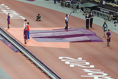 Ola Abidogun of Team GB gets his bronze medal for the men's T46 100m at the London 2012 Paralympic Games