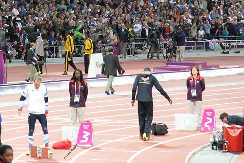 Dai Greene of Team GB prepares for the 400m hurdles final at the London 2012 Olympics